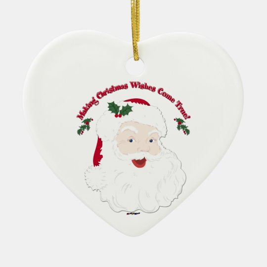 Vintage Santa Making Christmas Dreams Come True! Ceramic Ornament