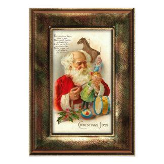 Vintage Santa Making Toys with Verse Card
