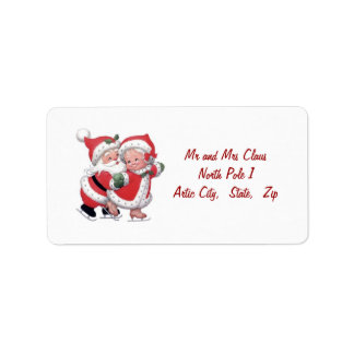 Vintage Santa man and Santa woman Label