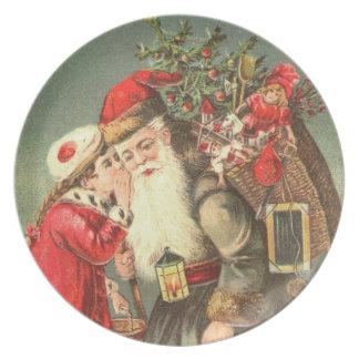 Vintage Santa Melamine Christmas Holiday Plate