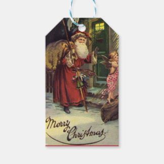 Vintage  Santa Merry Christmas Holiday Gift Tags