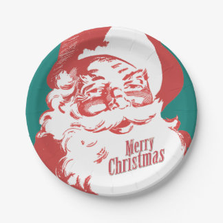 Vintage Santa Merry Christmas Paper Plates 7 Inch Paper Plate