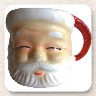Vintage Santa Mug Christmas Coasters (Blinking)