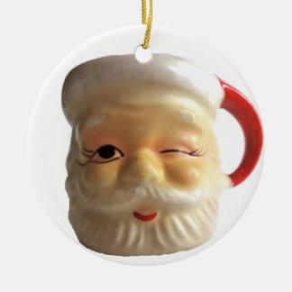 Vintage Santa Mug Christmas Ornament (Winking)