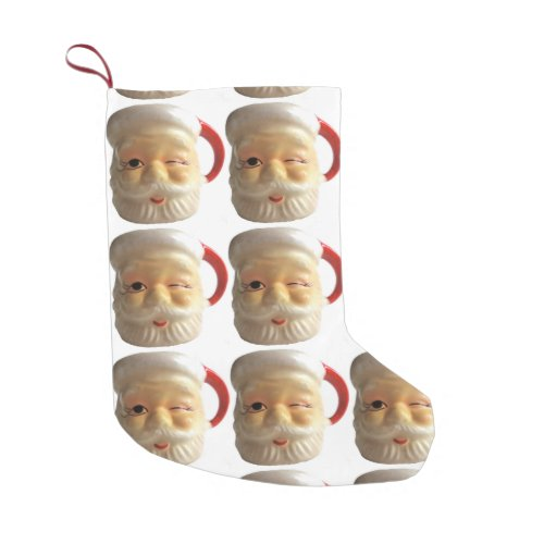 Vintage Santa Mug Christmas Stocking (winking) Small Christmas Stocking