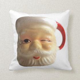 Vintage Santa Mug Christmas Throw Pillow (Winking)