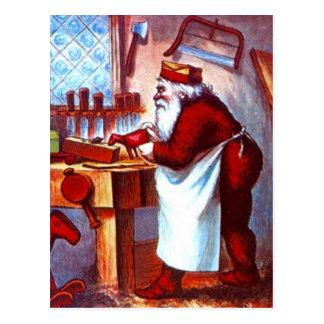 Vintage Santa ocupado en el taller de madera del Postal