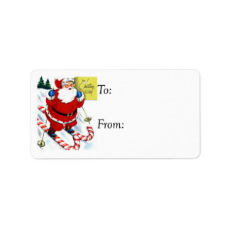 Vintage Santa on Candy Cane Skiis Gift Tag Address Label