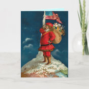Vintage Santa on top of the WORLD ! card