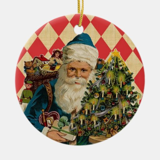 Vintage Santa Double-Sided Ceramic Round Christmas Ornament