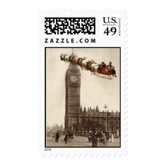 Vintage Santa over Big Ben London Christmas Stamp