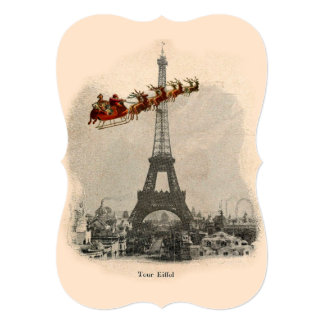 Vintage Santa over Paris Christmas Bracket Card