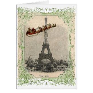 Vintage Santa over Paris Christmas Card