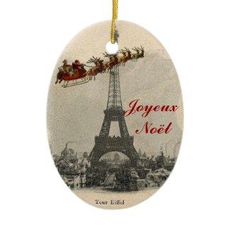 Vintage Santa over Paris Christmas Ornament