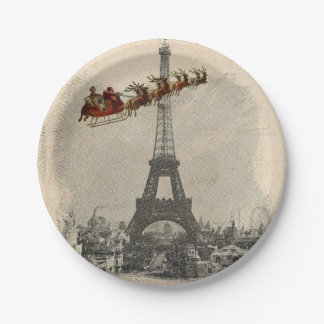 Vintage Santa over Paris Christmas Paper Plate