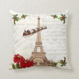 Vintage Santa over Paris Christmas Pillow