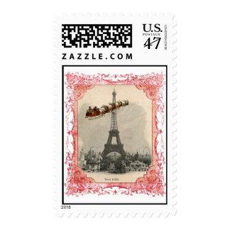 Vintage Santa over Paris Christmas Stamp
