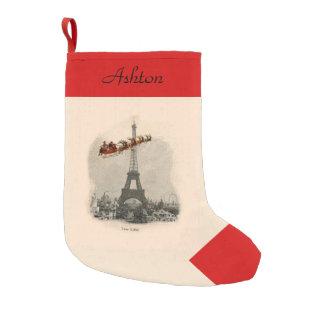 Vintage Santa over Paris Personalized Stocking