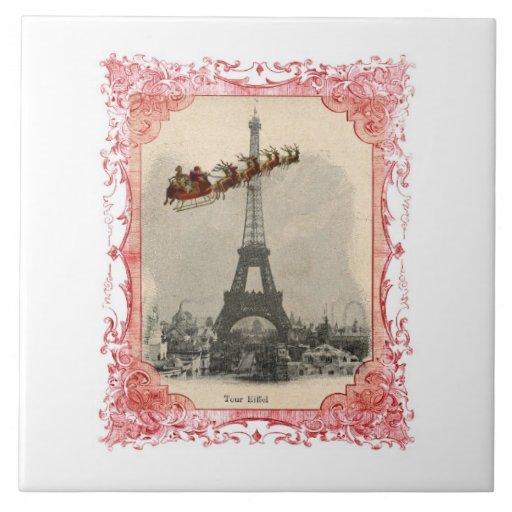 Vintage Santa over Paris Trivet Tile