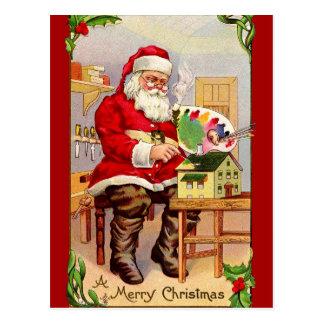 Vintage Santa Painting a Doll House Postcard