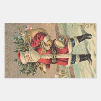 Vintage Santa Rectangular Pegatina