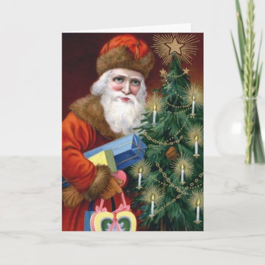 Vintage Santa Photo Insert Christmas Card Template