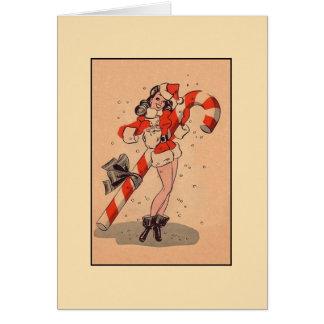 Vintage Santa Pin Up Girl Christmas Card