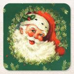 "Vintage Santa, pine wreath, holly Christmas Square Paper Coaster<br><div class=""desc"">Christmas coastert with vintage Santa,  pine wreath and holly</div>"