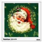 Vintage Santa, pine wreath, holly Christmas Wall Sticker