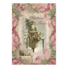 Vintage Santa, Pink Roses Collage Christmas Party Card