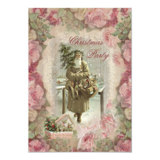 Vintage Santa, Pink Roses Collage Christmas Party Card at Zazzle