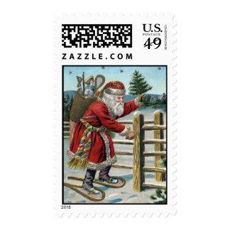 Vintage-Santa Postage-Darker