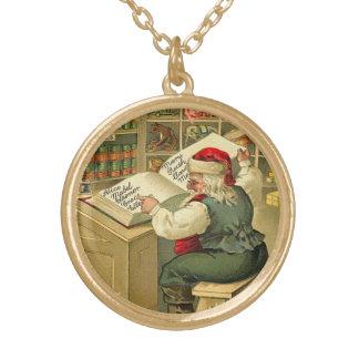 Vintage Santa que comprueba su lista - dos veces Colgante Redondo
