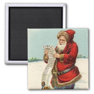 ¡Vintage Santa que comprueba su lista! Imán Cuadrado