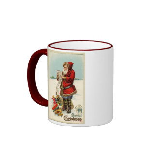 ¡Vintage Santa que comprueba su lista Taza De Café