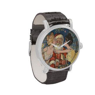 Vintage Santa que consigue besos debajo de muérdag Reloj De Mano