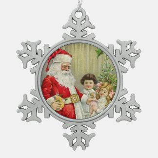 Vintage Santa que distribuye los regalos Adorno De Peltre En Forma De Copo De Nieve