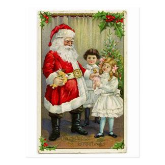 Vintage Santa que distribuye los regalos Postal