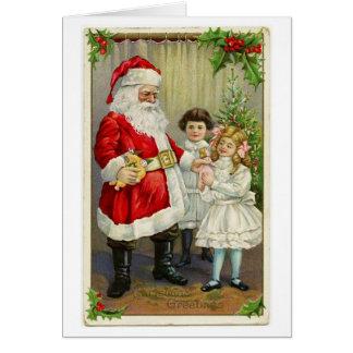 Vintage Santa que distribuye los regalos Tarjeta De Felicitación