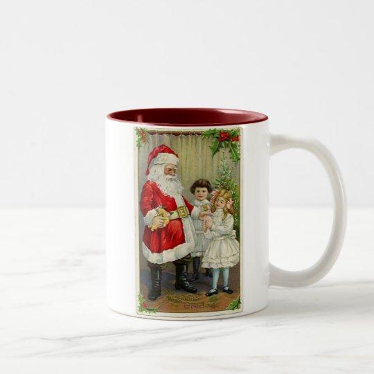 Vintage Santa que distribuye los regalos Taza De Café De Dos Colores