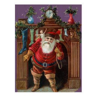 Vintage Santa que entrega los juguetes Postal