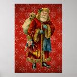 Vintage Santa que sostiene el poster del personal