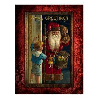 Vintage Santa que trae los juguetes Tarjeta Postal