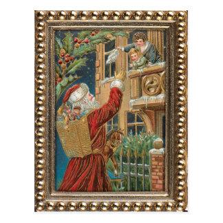 Vintage Santa que trae presentes Postales