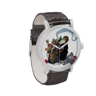 Vintage Santa que trae presentes Reloj