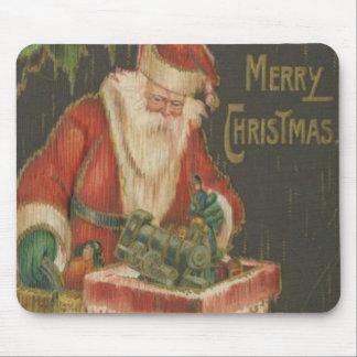 Vintage Santa que va abajo de la chimenea 2 Tapete De Ratón