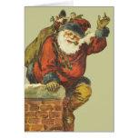 Vintage Santa que va abajo de la chimenea Tarjeta