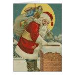 Vintage Santa que va abajo de la chimenea Tarjeton