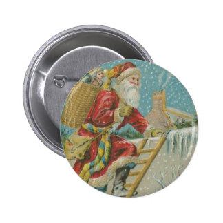 Vintage Santa que va para arriba una escalera Pin