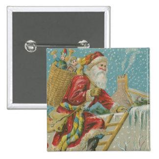 Vintage Santa que va para arriba una escalera Pins